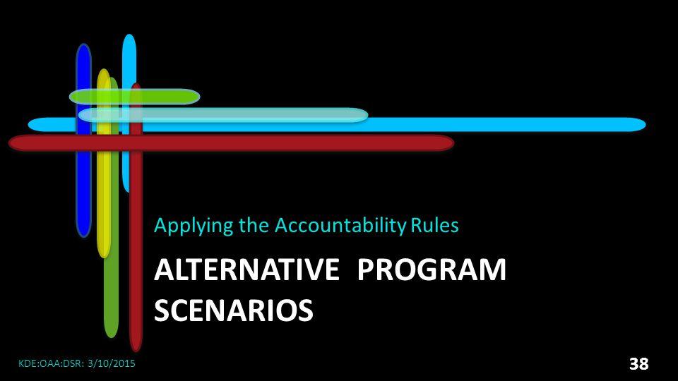 ALTERNATIVE PROGRAM SCENARIOS Applying the Accountability Rules KDE:OAA:DSR: 3/10/2015 38