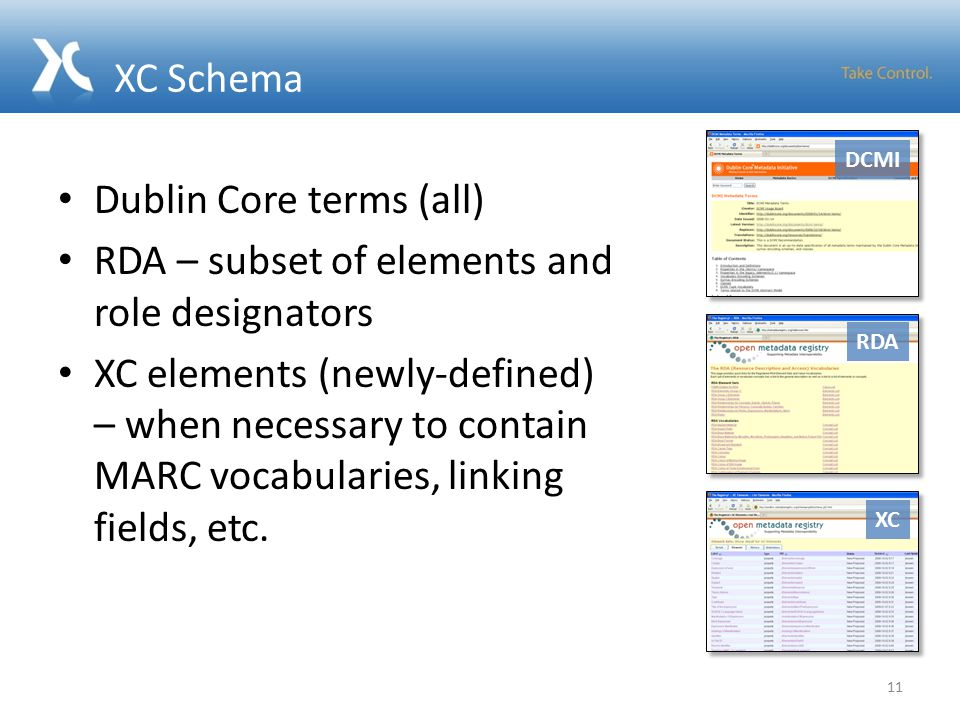 XC Schema Dublin Core terms (all) RDA – subset of elements and role designators XC elements (newly-defined) – when necessary to contain MARC vocabularies, linking fields, etc.