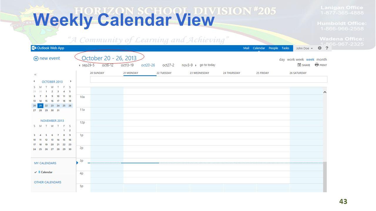 Weekly Calendar View 43