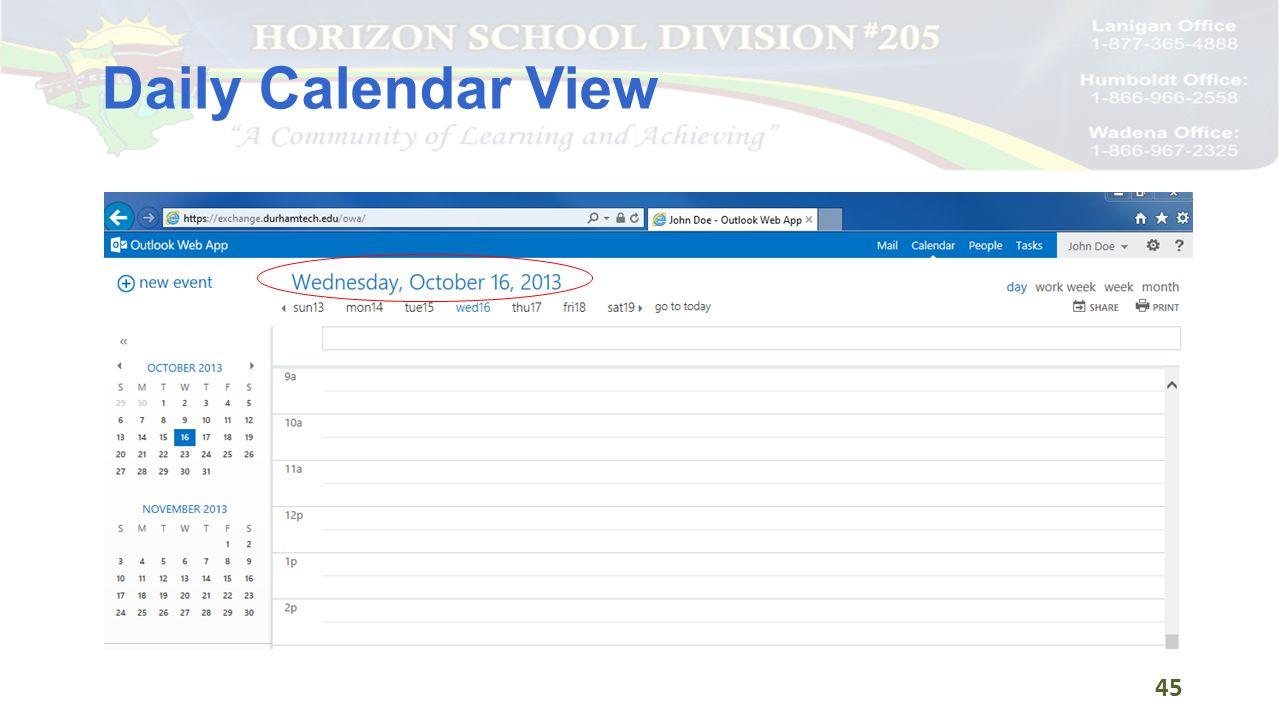 Daily Calendar View 45