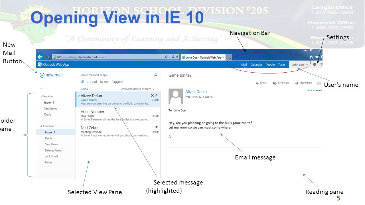 16 The message displayed in the Reading pane is highlighted The blue bar indicates unread message The check mark indicates the message is being viewed The Red X is for Deleting the message The Flag allows you to mark the message for follow up