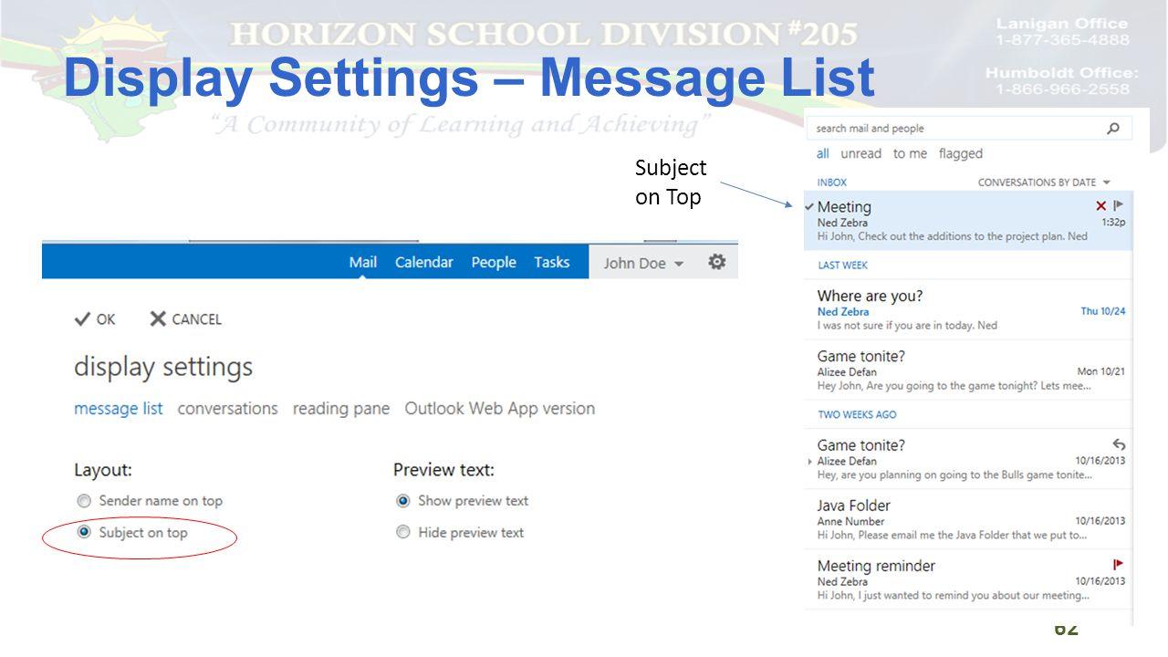Display Settings – Message List 62 Subject on Top