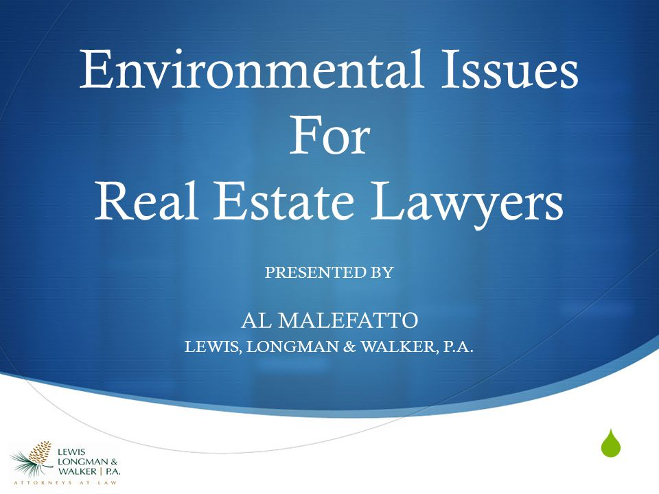  Environmental Issues For Real Estate Lawyers PRESENTED BY AL MALEFATTO LEWIS, LONGMAN & WALKER, P.A.