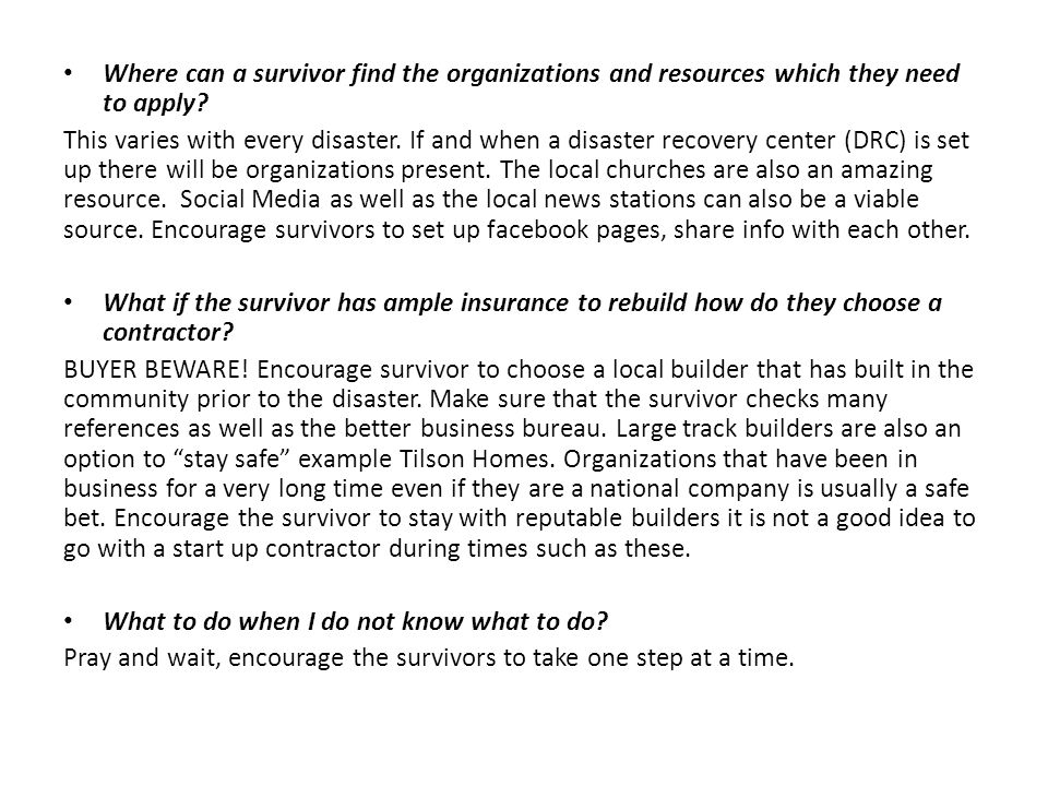 Where can a survivor find the organizations and resources which they need to apply.
