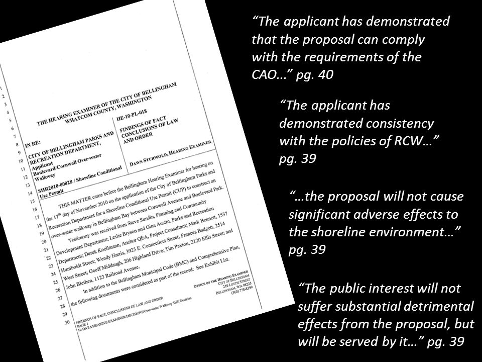 18 The applicant has demonstrated that the proposal can comply with the requirements of the CAO... pg.
