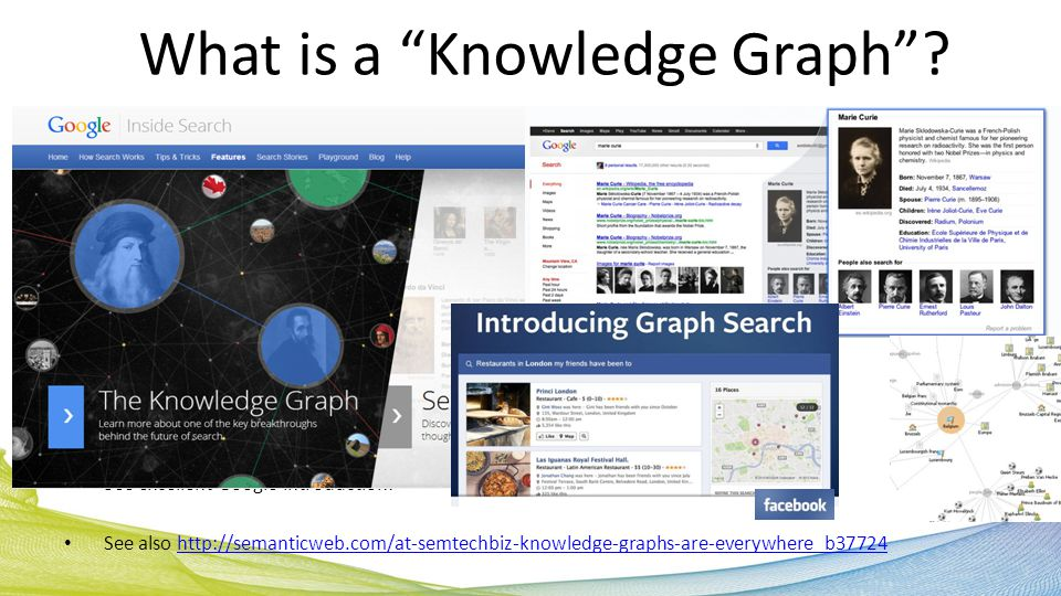 See excellent Google introduction: See also http://semanticweb.com/at-semtechbiz-knowledge-graphs-are-everywhere_b37724http://semanticweb.com/at-semtechbiz-knowledge-graphs-are-everywhere_b37724 What is a Knowledge Graph