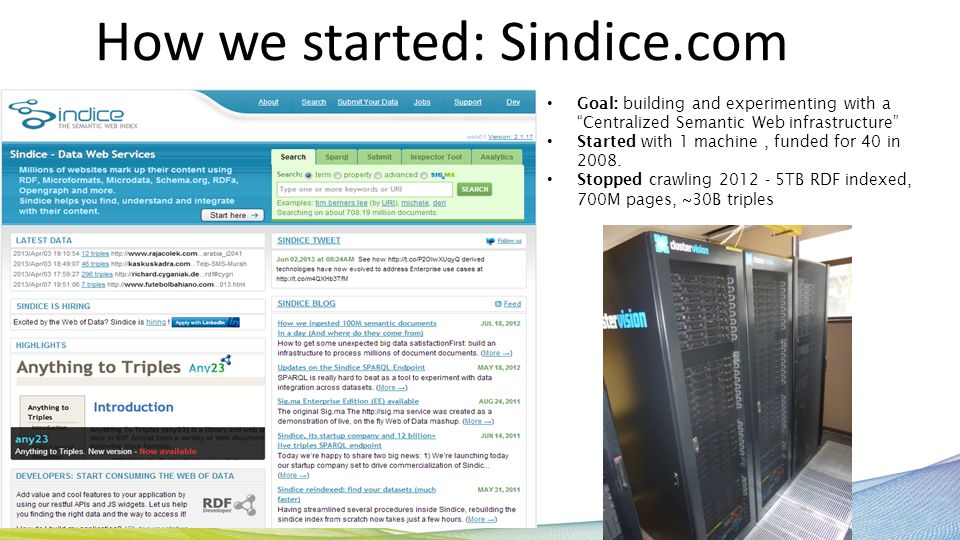 How we started: Sindice.com Goal: building and experimenting with a Centralized Semantic Web infrastructure Started with 1 machine, funded for 40 in 2008.