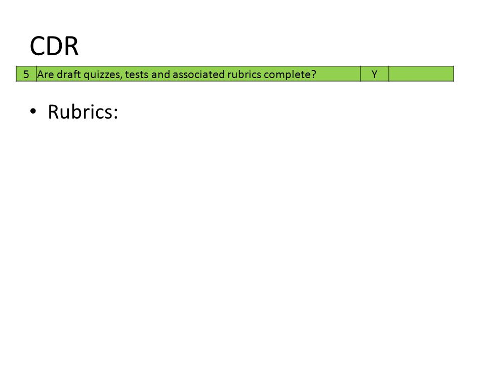CDR Rubrics: 5 Are draft quizzes, tests and associated rubrics complete?Y