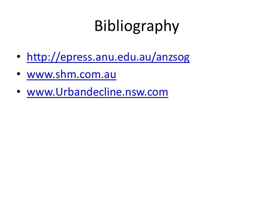 Bibliography http://epress.anu.edu.au/anzsog www.shm.com.au www.Urbandecline.nsw.com