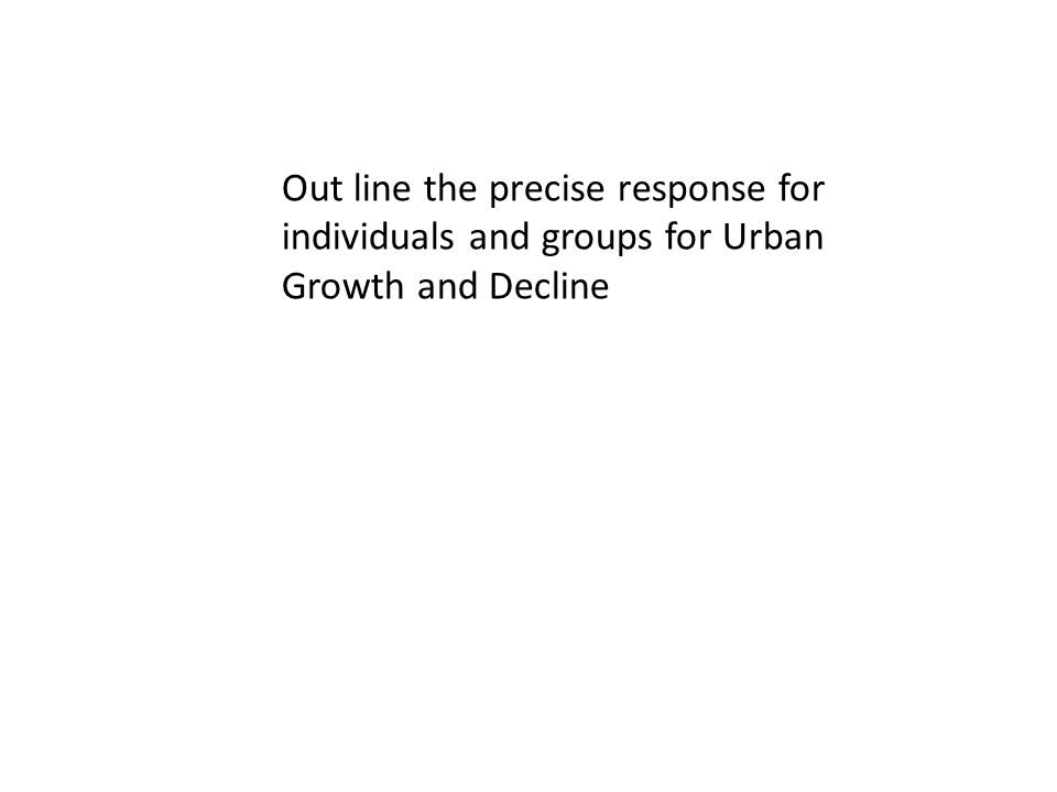 Out line the precise response for individuals and groups for Urban Growth and Decline