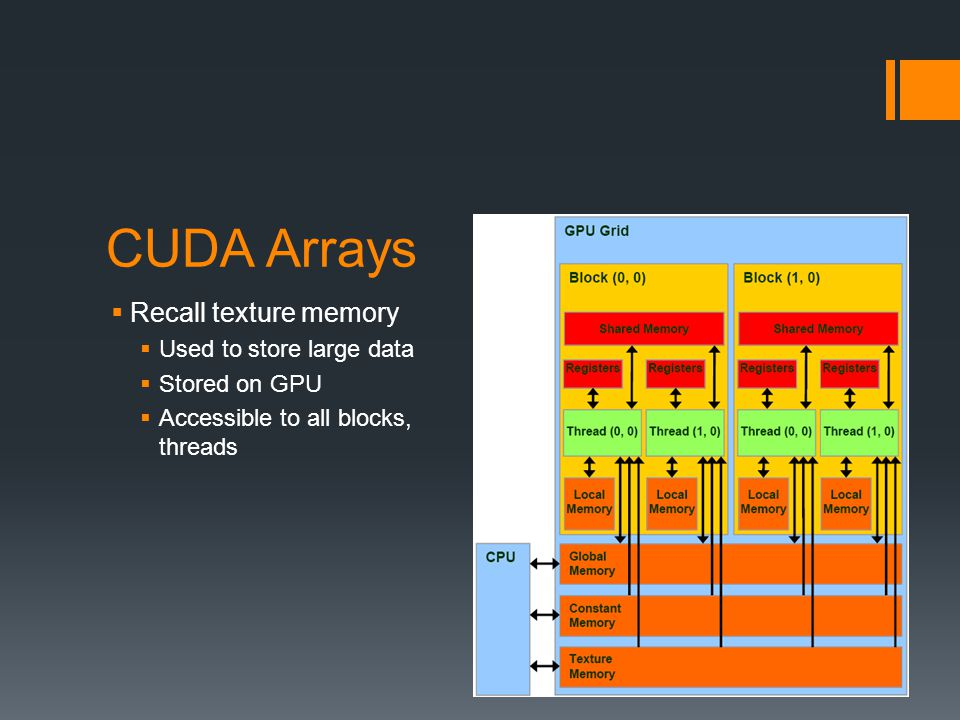 CUDA Arrays  Recall texture memory  Used to store large data  Stored on GPU  Accessible to all blocks, threads