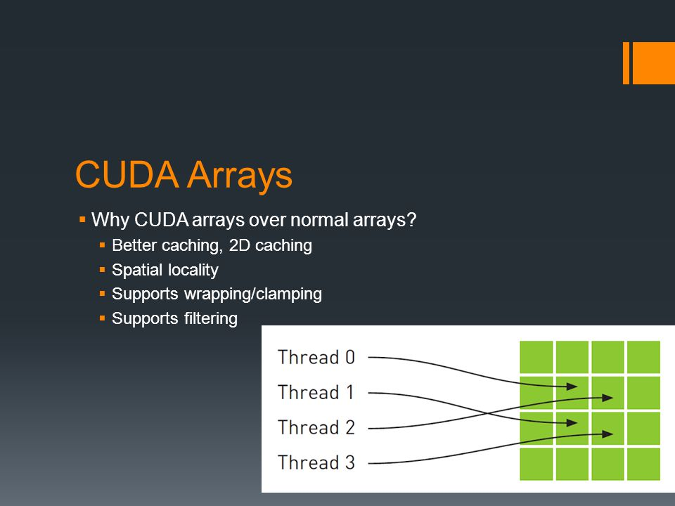 CUDA Arrays  Why CUDA arrays over normal arrays.