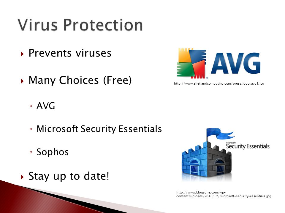  Prevents viruses  Many Choices (Free) ◦ AVG ◦ Microsoft Security Essentials ◦ Sophos  Stay up to date.