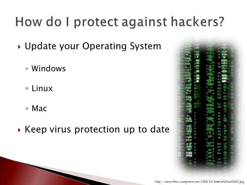  Update your Operating System ◦ Windows ◦ Linux ◦ Mac  Keep virus protection up to date http://steve.files.wordpress.com/2006/03/Matrix%20tut%202.jpg