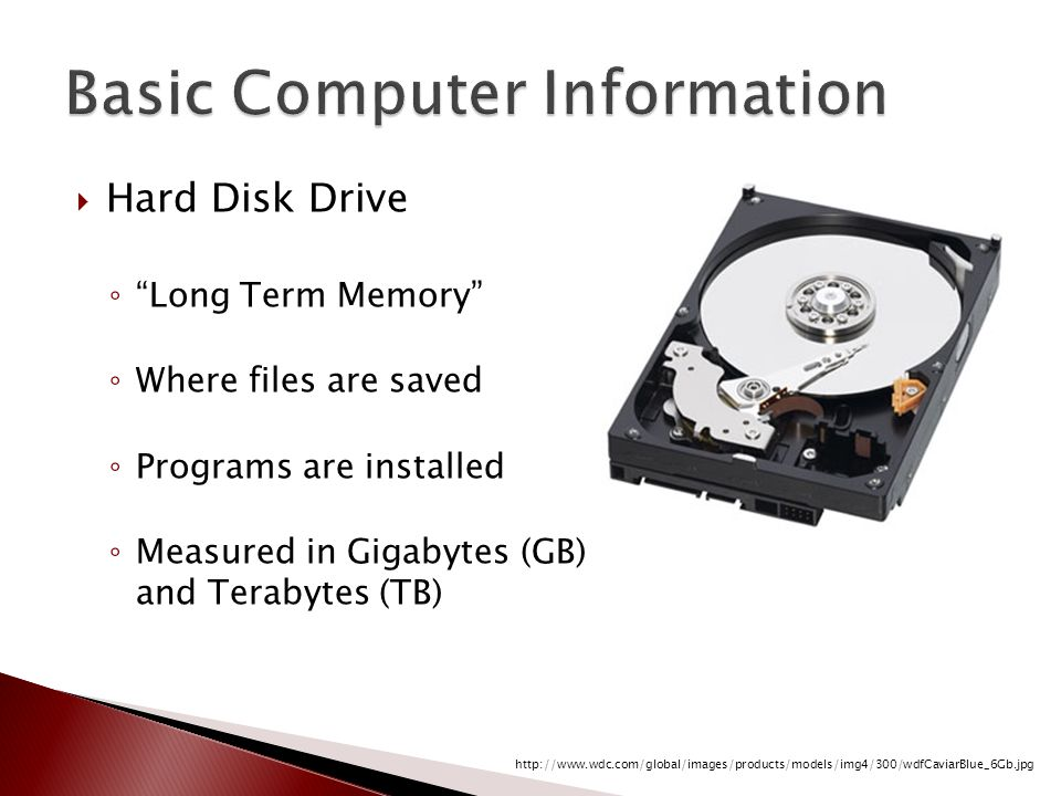 """ Hard Disk Drive ◦ """"Long Term Memory"""" ◦ Where files are saved ◦ Programs are installed ◦ Measured in Gigabytes (GB) and Terabytes (TB) http://www.wdc"""