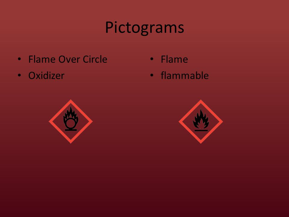 Pictograms Flame Over Circle Oxidizer Flame flammable