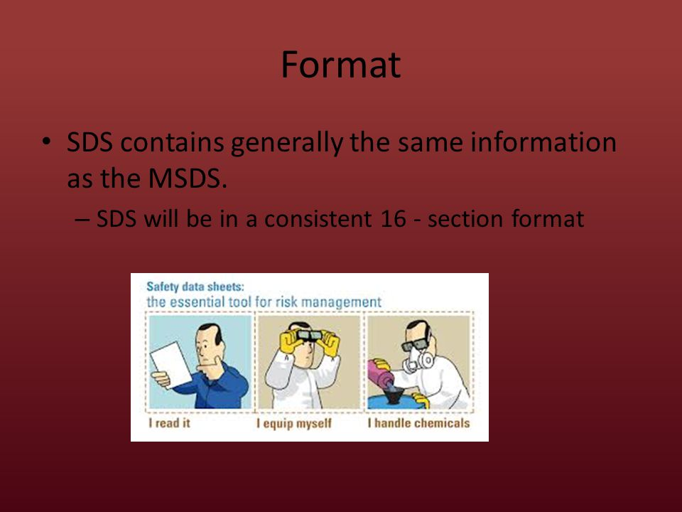 Format Section 1 – Identifies the chemical and other common names or synonyms – Contains the name, address, and phone number of the manufacturer/importer.