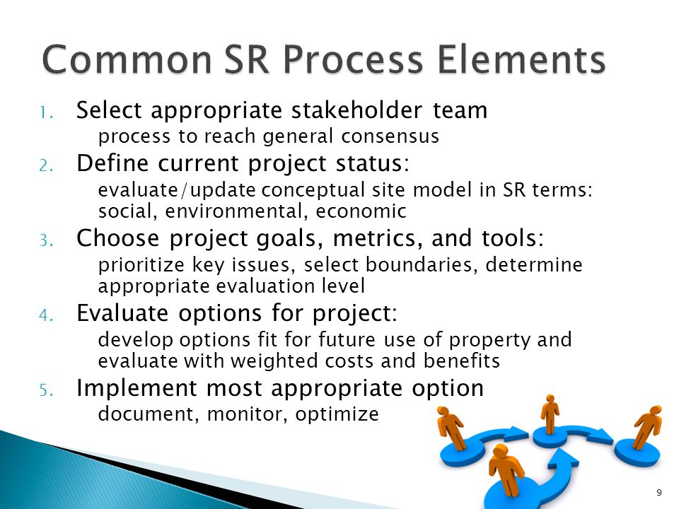 1.Select appropriate stakeholder team process to reach general consensus 2.