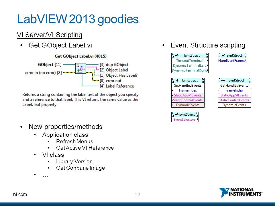 22 ni.com LabVIEW 2013 goodies VI Server/VI Scripting Get GObject Label.vi New properties/methods Application class Refresh Menus Get Active VI Reference VI class Library:Version Get Conpane Image … Event Structure scripting