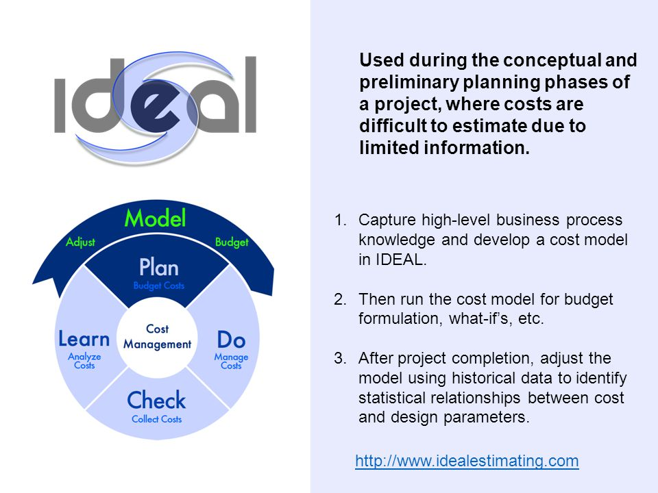 1.Capture high-level business process knowledge and develop a cost model in IDEAL. 2.Then run the cost model for budget formulation, what-if's, etc. 3