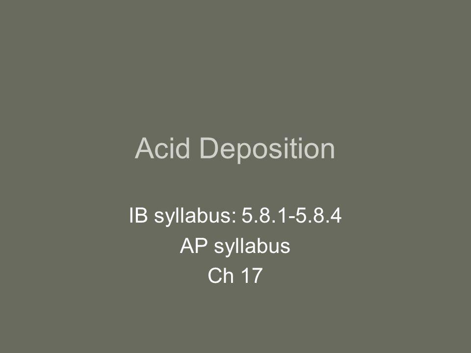 Acid Deposition IB syllabus: 5.8.1-5.8.4 AP syllabus Ch 17