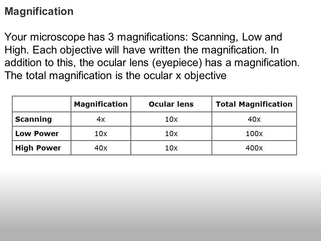 Magnification Your microscope has 3 magnifications: Scanning, Low and High. Each objective will have written the magnification. In addition to this, t