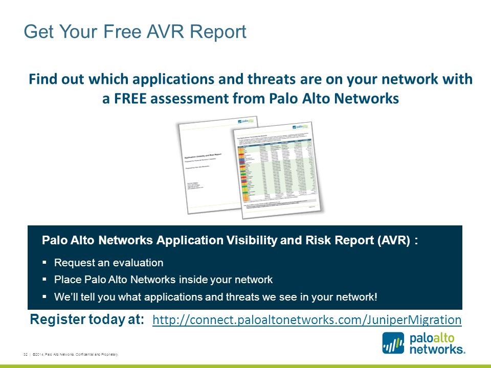 Get Your Free AVR Report 32 | ©2014, Palo Alto Networks. Confidential and Proprietary. Find out which applications and threats are on your network wit