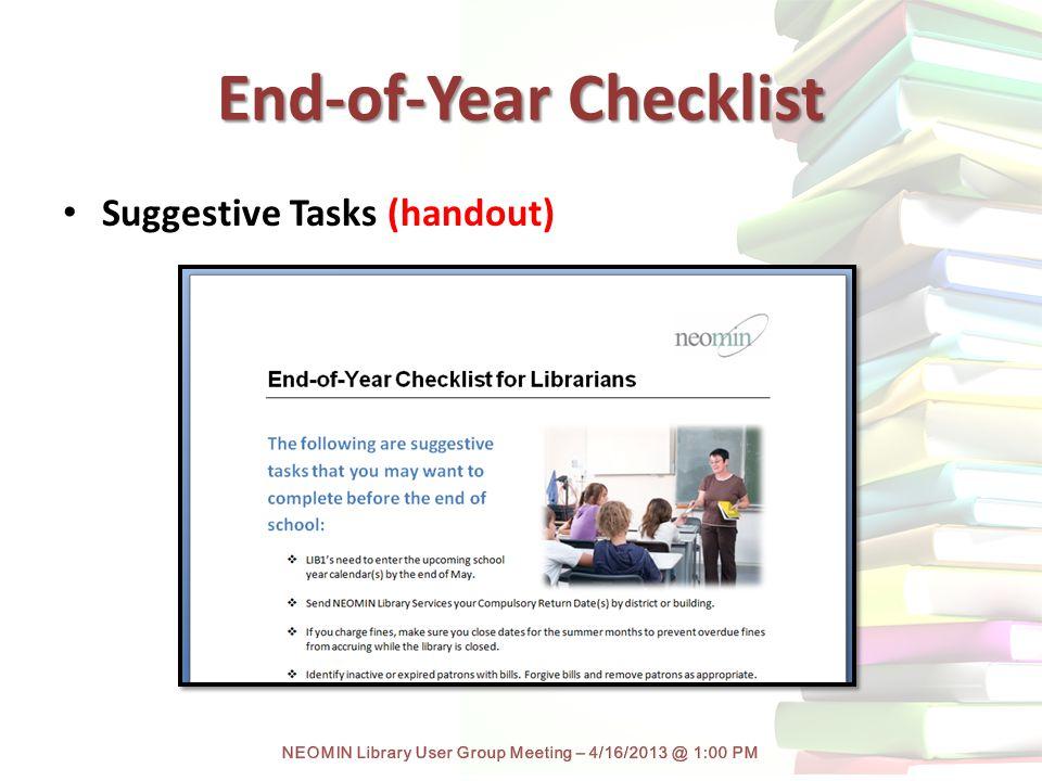 End-of-Year Checklist Suggestive Tasks (handout)