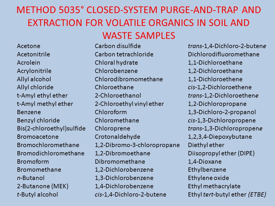 METHOD 5035° CLOSED-SYSTEM PURGE-AND-TRAP AND EXTRACTION FOR VOLATILE ORGANICS IN SOIL AND WASTE SAMPLES Acetone Acetonitrile Acrolein Acrylonitrile Allyl alcohol Allyl chloride t-Amyl ethyl ether t-Amyl methyl ether Benzene Benzyl chloride Bis(2-chloroethyl)sulfide Bromoacetone Bromochloromethane Bromodichloromethane Bromoform Bromomethane n-Butanol 2-Butanone (MEK) t-Butyl alcohol Carbon disulfide Carbon tetrachloride Chloral hydrate Chlorobenzene Chlorodibromomethane Chloroethane 2-Chloroethanol 2-Chloroethyl vinyl ether Chloroform Chloromethane Chloroprene Crotonaldehyde 1,2-Dibromo-3-chloropropane 1,2-Dibromoethane Dibromomethane 1,2-Dichlorobenzene 1,3-Dichlorobenzene 1,4-Dichlorobenzene cis-1,4-Dichloro-2-butene trans-1,4-Dichloro-2-butene Dichlorodifluoromethane 1,1-Dichloroethane 1,2-Dichloroethane 1,1-Dichloroethene cis-1,2-Dichloroethene trans-1,2-Dichloroethene 1,2-Dichloropropane 1,3-Dichloro-2-propanol cis-1,3-Dichloropropene trans-1,3-Dichloropropene 1,2,3,4-Diepoxybutane Diethyl ether Diisopropyl ether (DIPE) 1,4-Dioxane Ethylbenzene Ethylene oxide Ethyl methacrylate Ethyl tert-butyl ether (ETBE)