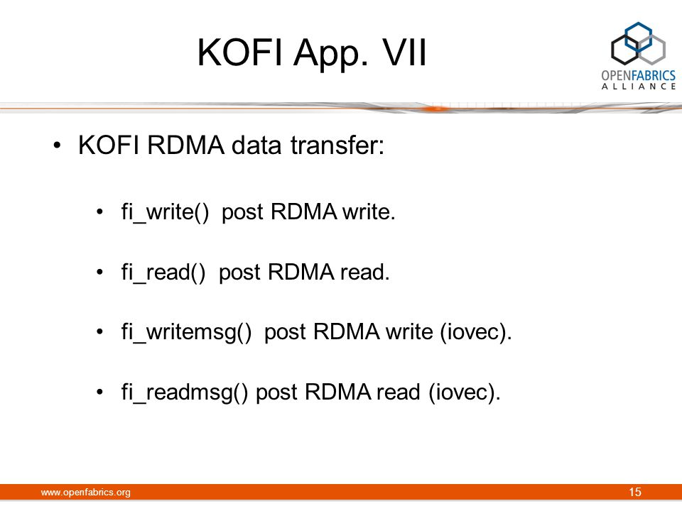 KOFI App. VII KOFI RDMA data transfer: fi_write() post RDMA write.