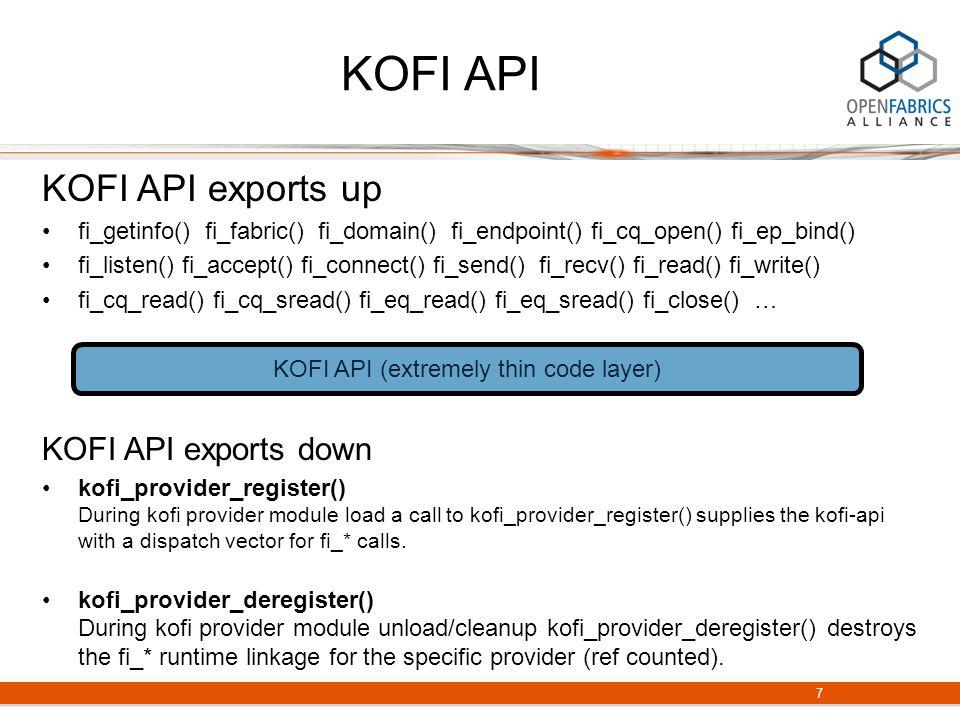 KOFI API KOFI API exports up fi_getinfo() fi_fabric() fi_domain() fi_endpoint() fi_cq_open() fi_ep_bind() fi_listen() fi_accept() fi_connect() fi_send() fi_recv() fi_read() fi_write() fi_cq_read() fi_cq_sread() fi_eq_read() fi_eq_sread() fi_close() … KOFI API exports down kofi_provider_register() During kofi provider module load a call to kofi_provider_register() supplies the kofi-api with a dispatch vector for fi_* calls.