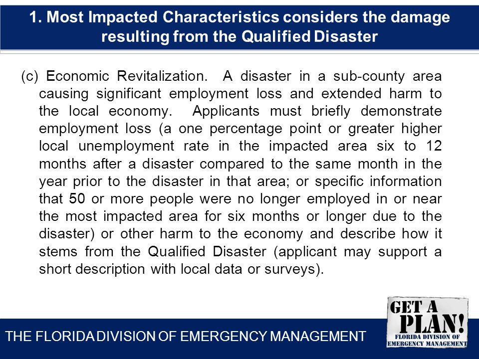 THE FLORIDA DIVISION OF EMERGENCY MANAGEMENT (c) Economic Revitalization.