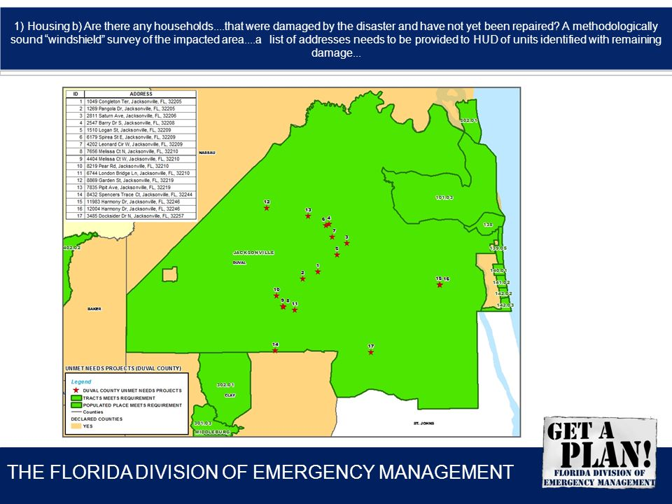 THE FLORIDA DIVISION OF EMERGENCY MANAGEMENT 1) Housing b) Are there any households....that were damaged by the disaster and have not yet been repaire