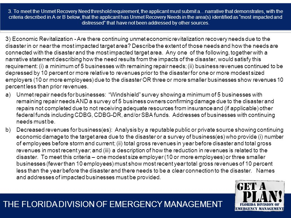 THE FLORIDA DIVISION OF EMERGENCY MANAGEMENT 3.