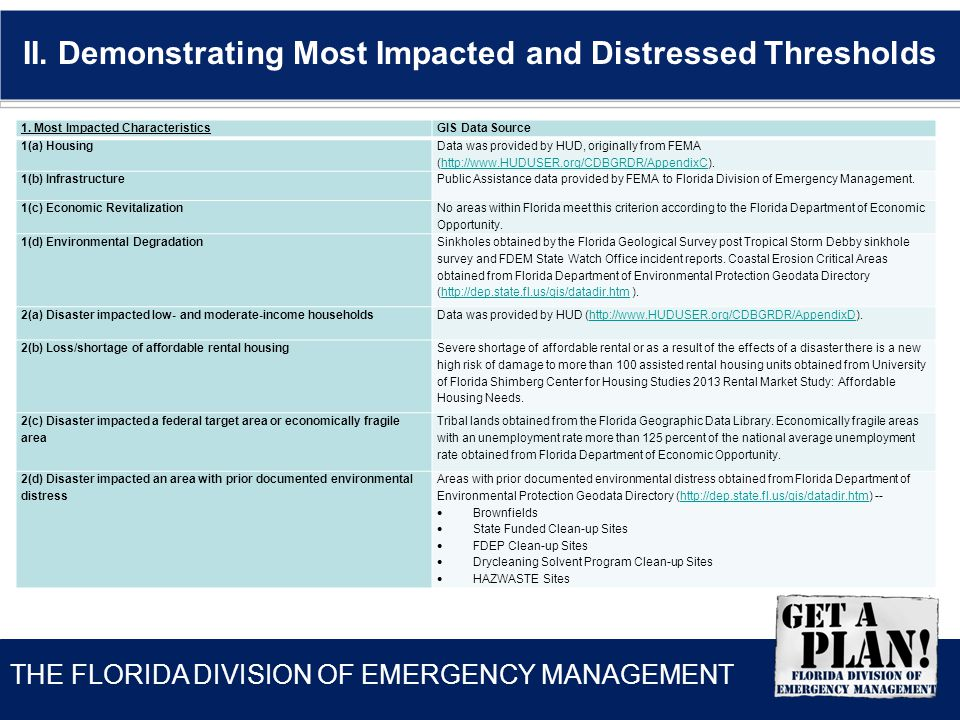 THE FLORIDA DIVISION OF EMERGENCY MANAGEMENT II.