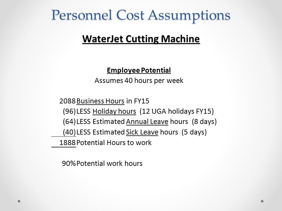 Personnel Cost Assumptions WaterJet Cutting Machine Employee Potential Assumes 40 hours per week 2088Business Hours in FY15 (96)LESS Holiday hours (12