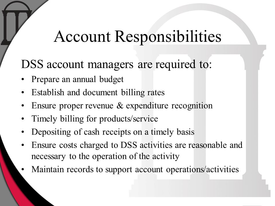 Account Responsibilities DSS account managers are required to: Prepare an annual budget Establish and document billing rates Ensure proper revenue & e