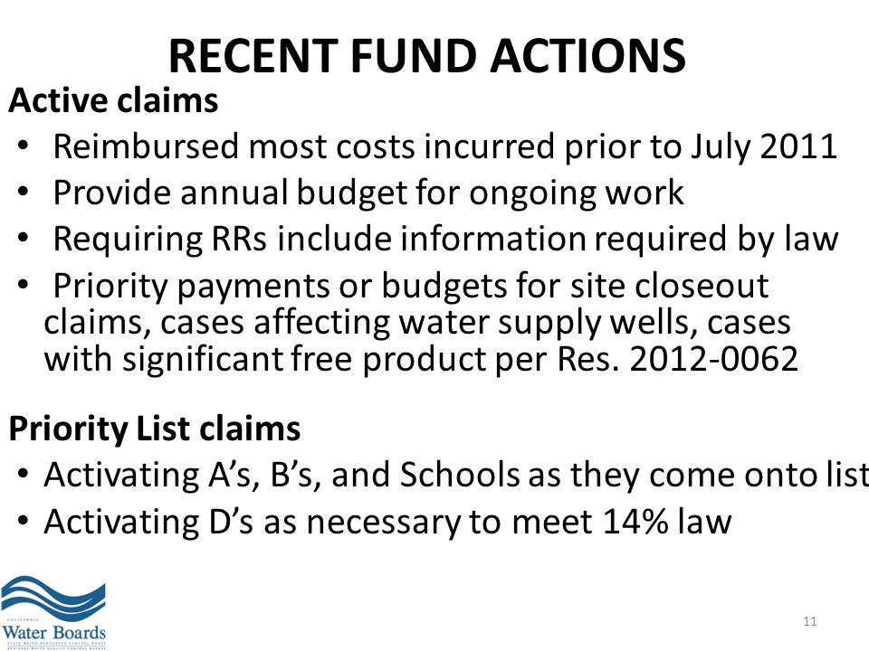 RECENT FUND ACTIONS Active claims Reimbursed most costs incurred prior to July 2011 Provide annual budget for ongoing work Requiring RRs include infor