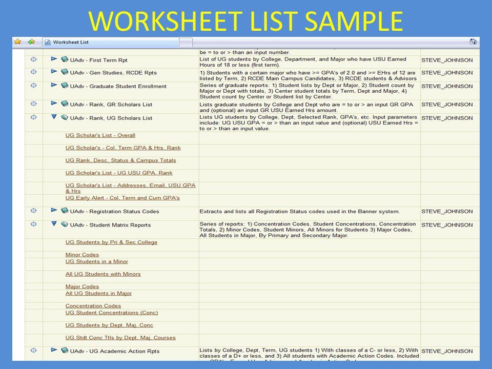 WORKSHEET LIST SAMPLE