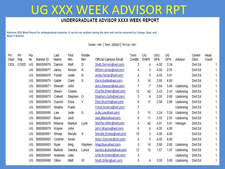 UG XXX WEEK ADVISOR RPT