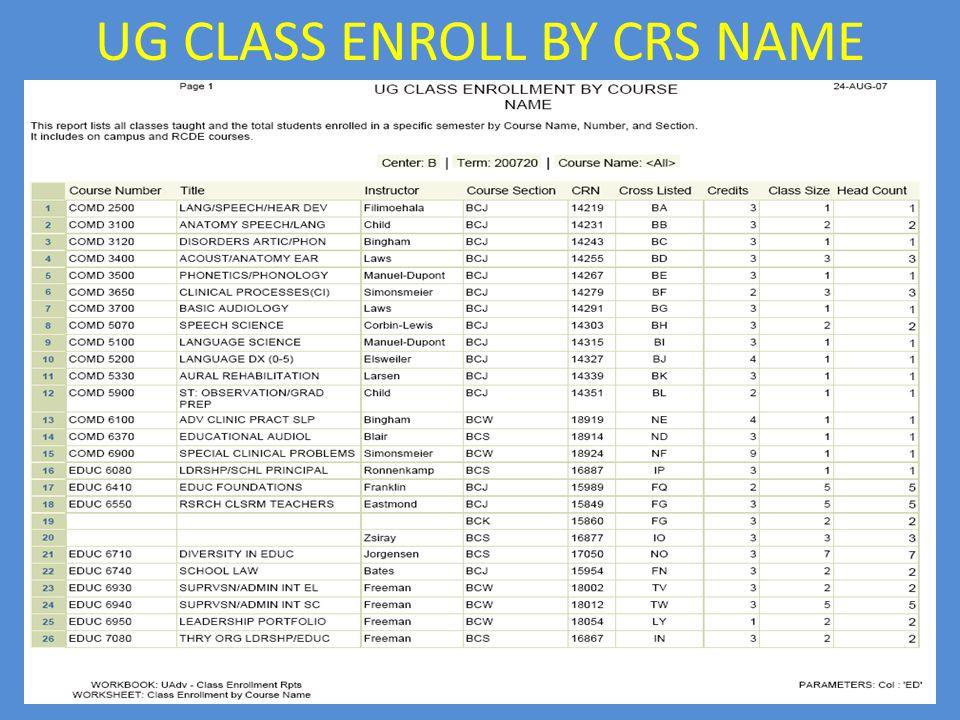 UG CLASS ENROLL BY CRS NAME
