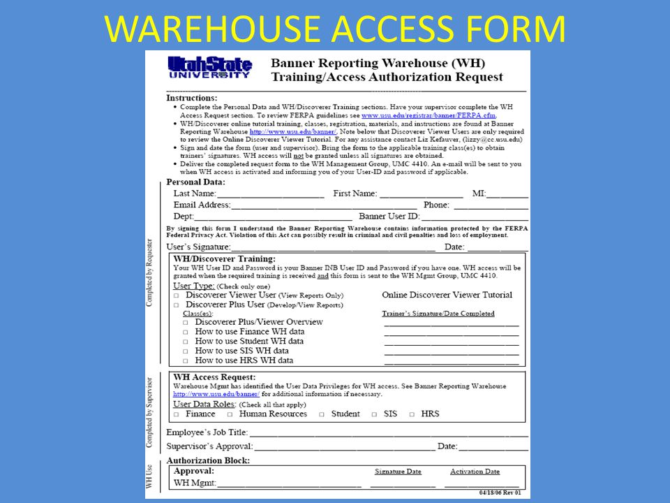 WAREHOUSE ACCESS FORM