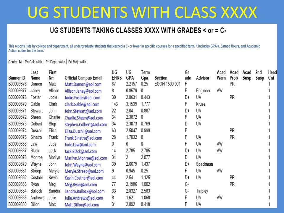 UG STUDENTS WITH CLASS XXXX