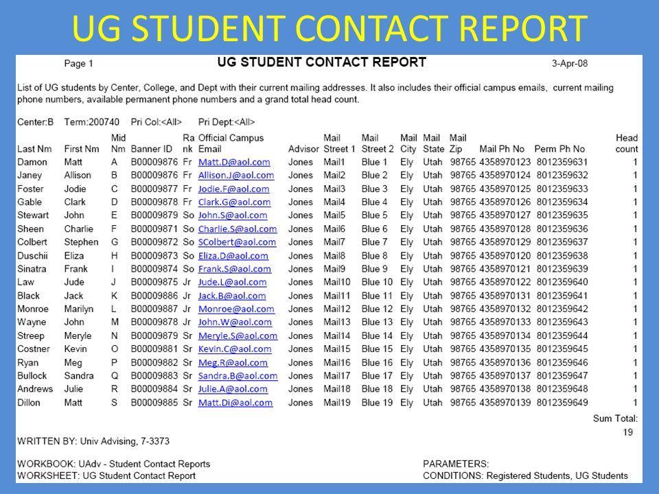 UG STUDENT CONTACT REPORT