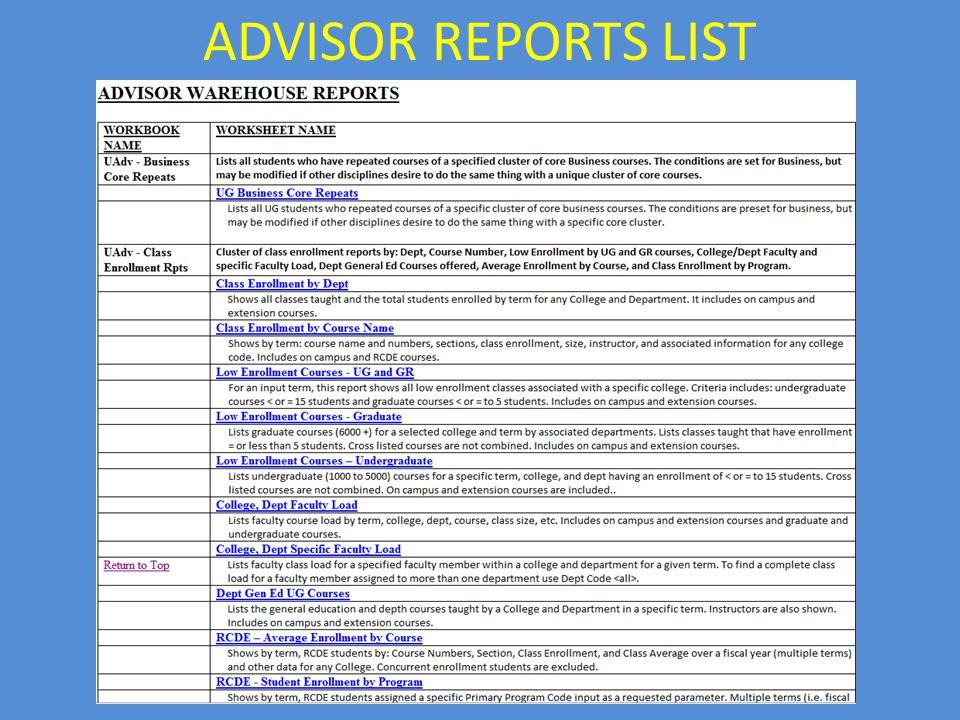 ADVISOR REPORTS LIST