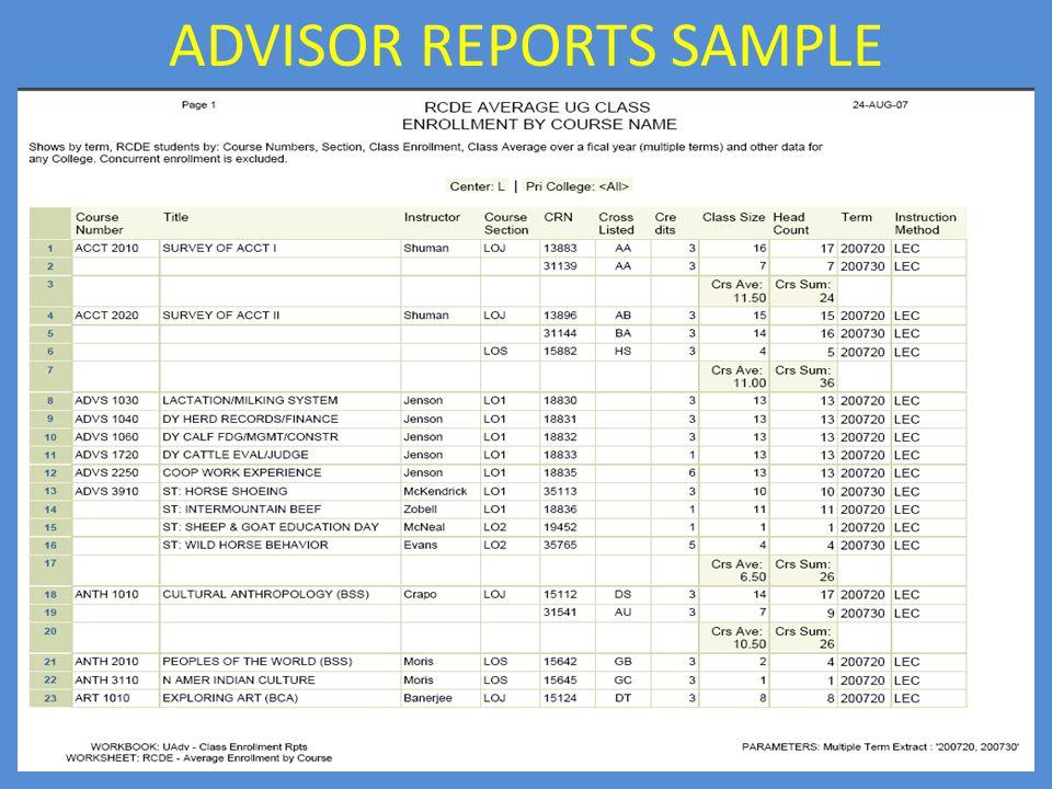 ADVISOR REPORTS SAMPLE