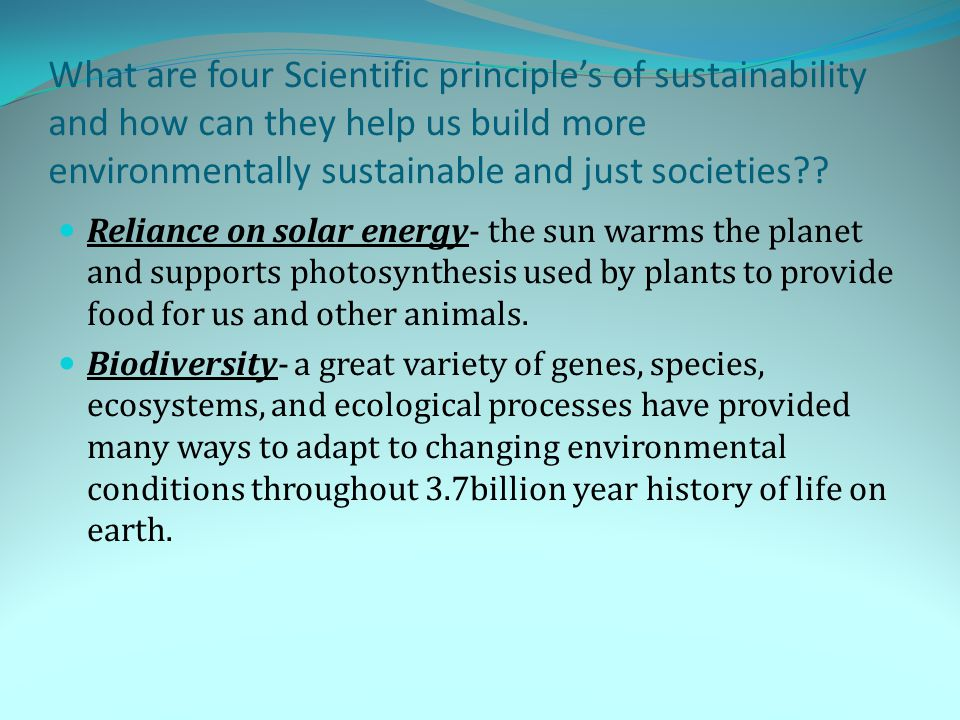 What are four Scientific principle's of sustainability and how can they help us build more environmentally sustainable and just societies?? Reliance o