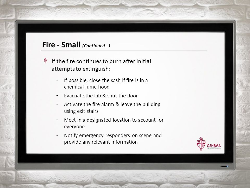 Fire - Small (Continued…) If the fire continues to burn after initial attempts to extinguish: - If possible, close the sash if fire is in a chemical fume hood - Evacuate the lab & shut the door - Activate the fire alarm & leave the building using exit stairs - Meet in a designated location to account for everyone - Notify emergency responders on scene and provide any relevant information