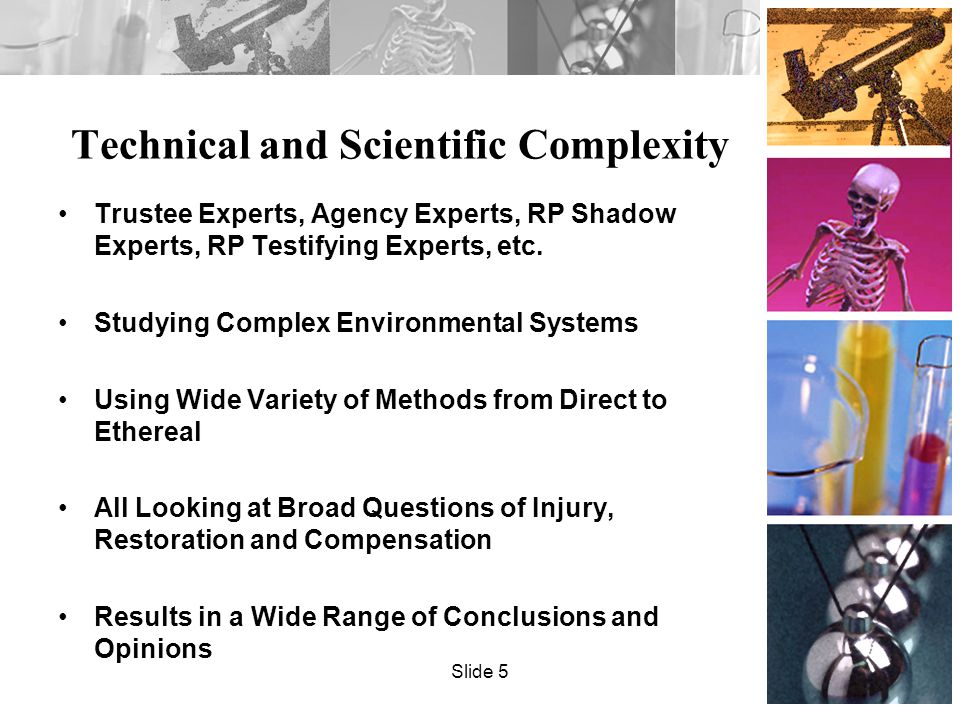 Technical and Scientific Complexity Trustee Experts, Agency Experts, RP Shadow Experts, RP Testifying Experts, etc.