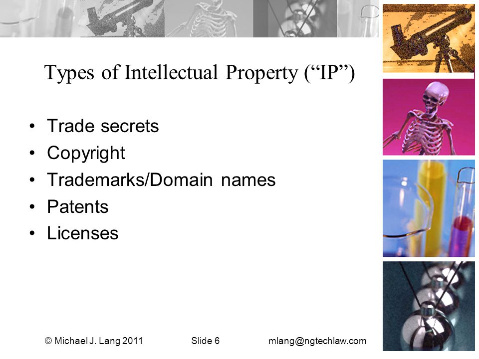 Types of Intellectual Property ( IP ) Trade secrets Copyright Trademarks/Domain names Patents Licenses © Michael J.